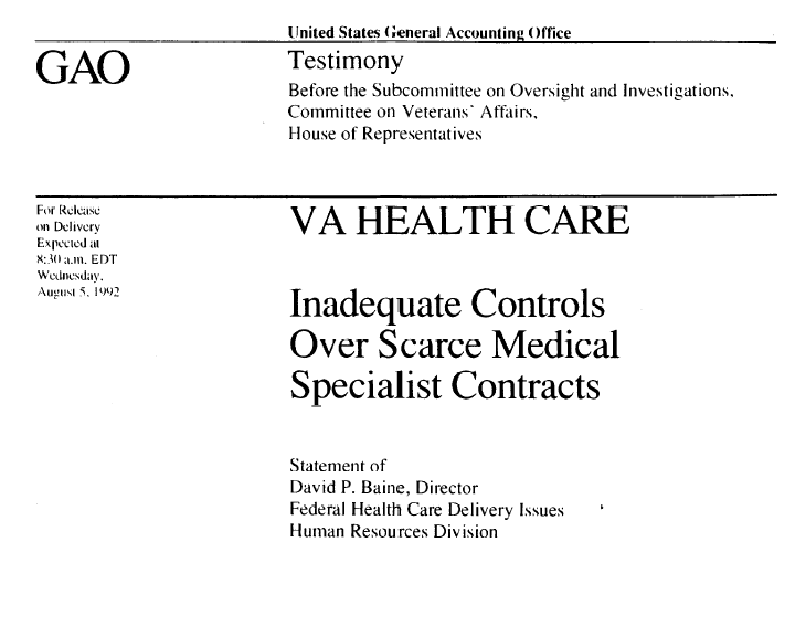 Inadequate Controls Over Specialists resulsts in medical malpractice by the Department of Veterans Affairs